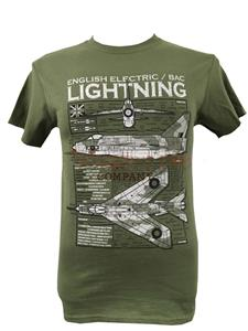 English Electric/BAC Lightning Blueprint Design T-Shirt Olive Green 2X-LARGE