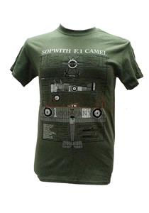 Sopwith Camel Blueprint Design T-Shirt Olive Green LARGE