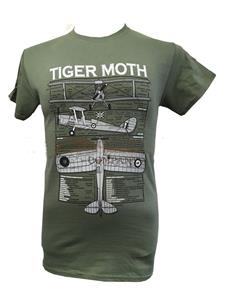 Tiger Moth Blueprint Design T-Shirt Olive Green LARGE