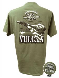 Avro Vulcan British Legend Action T-Shirt Olive Green 2X-LARGE