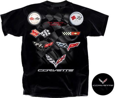 Corvette Emblem T-Shirt Black MEDIUM - Click Image to Close