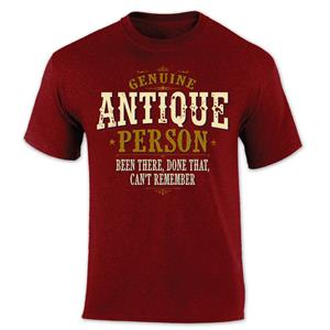 Genuine Antique Person Vintage Lettering T-Shirt Red SMALL
