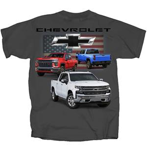 Chevrolet 2020 Pickups Flag T-Shirt Grey 2X-LARGE