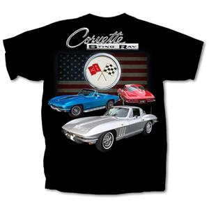 Chevrolet Corvette C2 Stingray 3 Cars T-Shirt Black LARGE