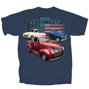Chevrolet Vintage Trucks Flag T-Shirt Blue SMALL