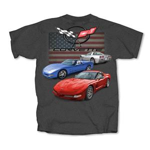 Corvette C5 Red White And Blue T-Shirt Grey LARGE