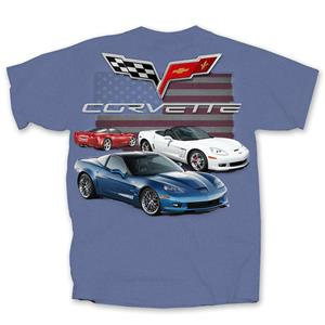 Chevrolet Corvette C6 Flag T-Shirt Indigo 2X-LARGE