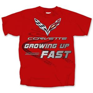 Corvette Growing Up Fast Kid's T-Shirt Red YOUTH X-SMALL DUE LATE 2018
