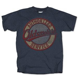 Oldsmobile Authorized Service Distressed Sign T-Shirt Blue LARGE DUE LATE 2018