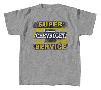 Super Chevrolet Service Sign T-Shirt Grey SMALL DUE 2019