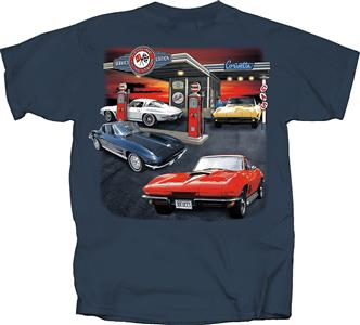 Corvette Gas Station T-Shirt Blue 2X-LARGE