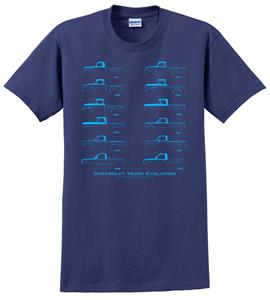 Chevrolet Truck Evolution T-Shirt Blue 2X-LARGE