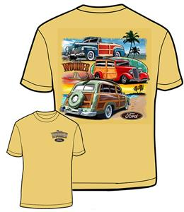 Ford Three Woodies T-Shirt Gold LARGE