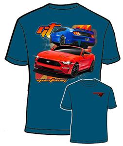 Ford Mustang GT T-Shirt Blue LARGE