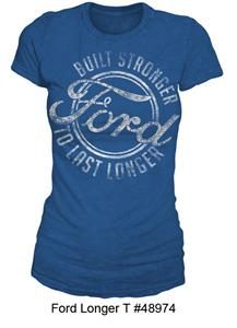 Ford Built Stronger To Last Longer T-Shirt Blue LADIES X-LARGE