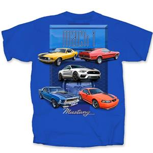 Ford Mustang Mach 1 1970-2004 T-Shirt Blue SMALL