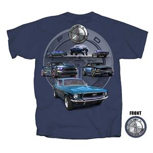 Six Mustangs T-Shirt Blue 2X-LARGE