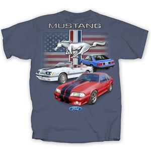 Ford Mustang Fox Body Flag T-Shirt Indigo LARGE