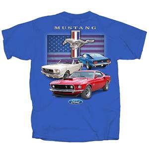 Ford Mustang Classic Red White & Blue Flag T-Shirt Royal Blue 2X-LARGE DUE LATE 2018