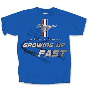 Ford Mustang Growing Up Fast Kid's T-Shirt Blue YOUTH LARGE