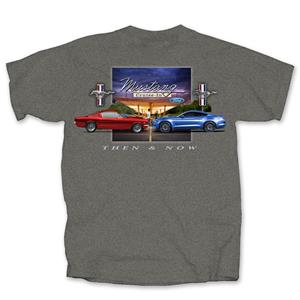 Ford Mustang Then & Now T-Shirt Grey MEDIUM