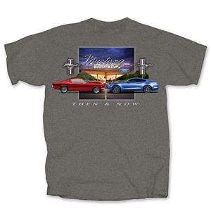 Ford Mustang Then & Now T-Shirt Grey SMALL