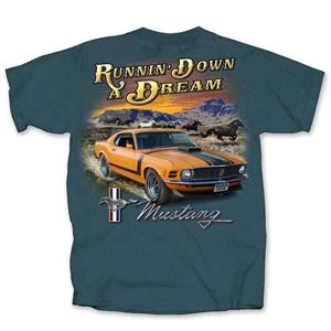 Ford Mustang Running Down A Dream T-Shirt Indigo MEDIUM