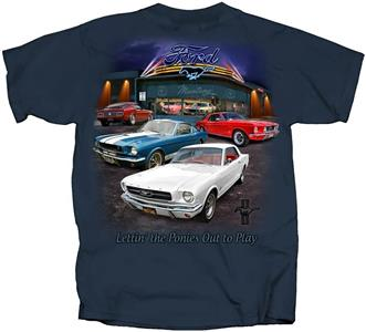 Ford Mustang 1964-69 Showroom T-Shirt Blue SMALL