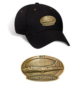 B-17 Flying Fortress Brass Badge Cap Black