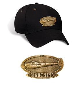 P-38 Lightning Brass Badge Cap Black