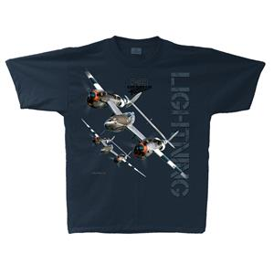 P-38 Lightning Lightning T-Shirt Navy Blue 2X-LARGE