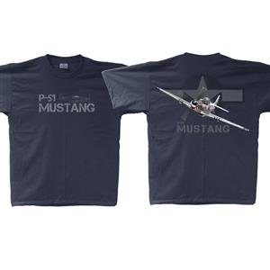 P-51 Mustang T-Shirt Navy Blue MEDIUM