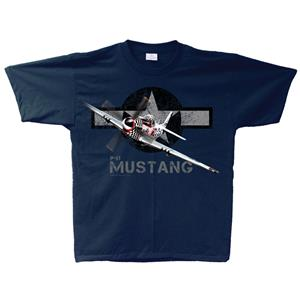 P-51 Mustang T-Shirt Navy Blue YOUTH SMALL 6-8
