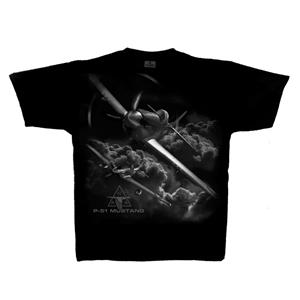 P-51 Mustang 25th Anniversary T-Shirt Black 2X-LARGE