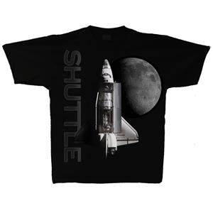 Space Shuttle Moon T-Shirt Black 3X-LARGE