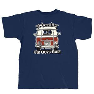 Old Guys Rule - VW Kombi Good Vibrations T-Shirt Blue LARGE