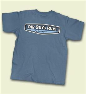 Old Guys Rule Aged To Perfection Rear View T-Shirt Blue LARGE DAMAGED