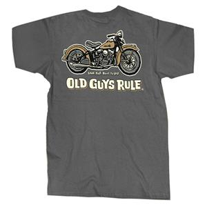 Old Guys Rule - Panhead Loud Fast Built To Last T-Shirt Grey X-LARGE