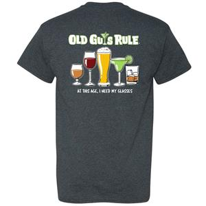 Old Guys Rule - At This Age I Need My Glasses T-Shirt Grey MEDIUM
