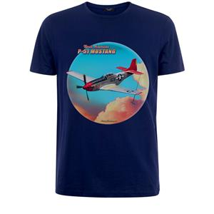 North American P-51 Mustang Clouds T-Shirt Navy Blue 2X-LARGE