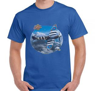 Supermarine Spitfire Clouds T-Shirt Royal Blue 3X-LARGE