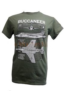 Blackburn Buccaneer Blueprint Design T-Shirt Olive Green MEDIUM