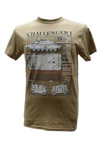 Challenger 1 Main Battle Tank Blueprint Design T-Shirt Sand 2X-LARGE