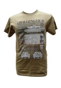Challenger 2 Main Battle Tank Blueprint Design T-Shirt Sand 2X-LARGE