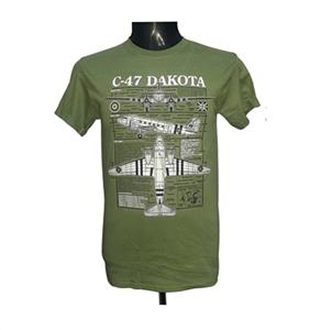 Dakota C-47 Skytrain Blueprint Design T-Shirt Olive Green 2X-LARGE