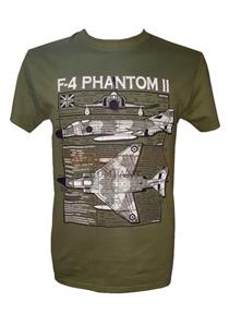 F-4 Phantom II Blueprint Design T-Shirt Olive Green 2X-LARGE