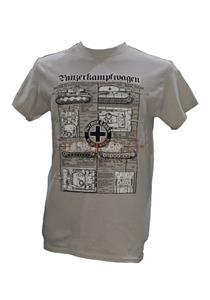 Panzerkampfwagen - German Army WW2 Tanks Blueprint Design T-Shirt Grey 2X-LARGE