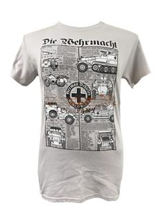 Die Wermacht - German Army WWII Vehicles Blueprint Design T-Shirt Grey 2X-LARGE