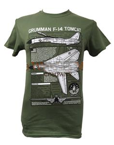 Grumman F-14 Tomcat Blueprint Design T-Shirt Olive LARGE