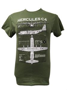 Lockheed C-130 Hercules Blueprint Design T-Shirt Olive Green LARGE